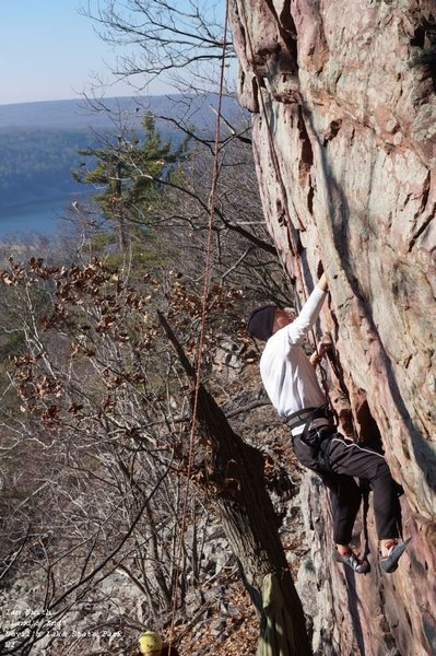 Ian Smith.<br> <br> Here you get a better sense of the overhanging cast of this route.