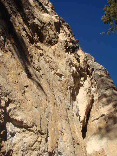 More climbing photos as requested by Christian Baird. And who can blame him? This one turned out pretty good.<br> <br> Joel screws his head on straight for Straight Outta GE, 5.11d.<br> <br> Light Bulb Buttress. Sunshine Wall.<br> Spearfish Canyon, SD.