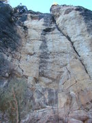 Rock Climbing Photo: Monster Baiter, 5.10b. Follow the black streak. Pu...