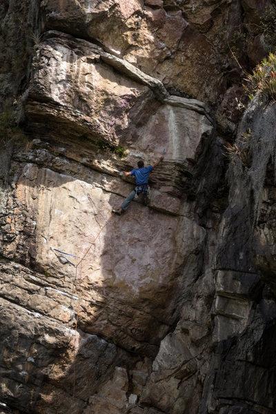 Rock Climbing Photo: Climbing Haztelo Panchito 5.11c in Suesca Colombia...