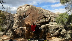 Rock Climbing Photo: Nick in postion for crux move to the diagonal crim...