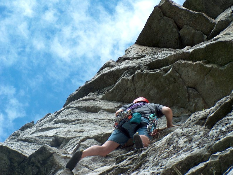 Rock Climbing Photo: Drifting out towards the difficult section of moon...