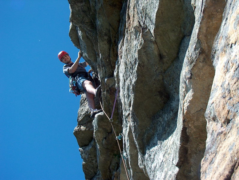 Arrow, the little overhang that starts pitch 2.  Photo: John Ely