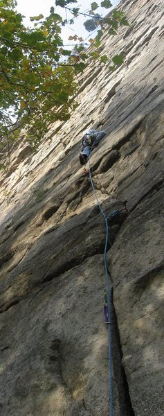 Meandering up pitch one of Frog's Head.  Climber: John Ely, photo, Gottlieb Duwan