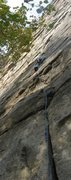Rock Climbing Photo: Meandering up pitch one of Frog's Head.  Climber: ...