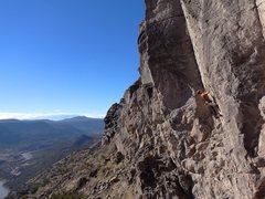 Rock Climbing Photo: Steep face climbing down to enjoyable arete climbi...