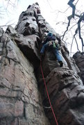 Rock Climbing Photo: Doug leading Cleopatra's Needle via her underbelly...