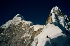 Rock Climbing Photo: Heading up the NW ridge of Chopicalqui, route desc...