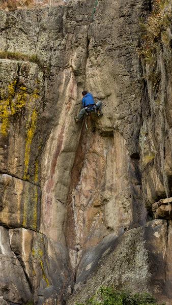 Rock Climbing Photo: Almost through the crux, on Diedro Rosado