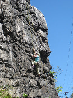 Rock Climbing Photo: Climber near the bottom of The Founder's Forge