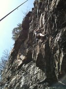 Rock Climbing Photo: Climber near the middle of the route