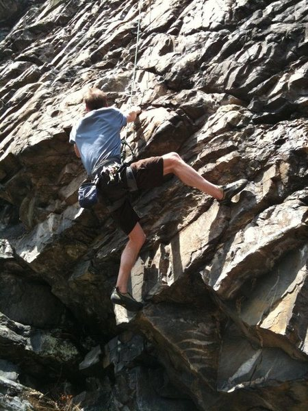Climber near the beginning of the route