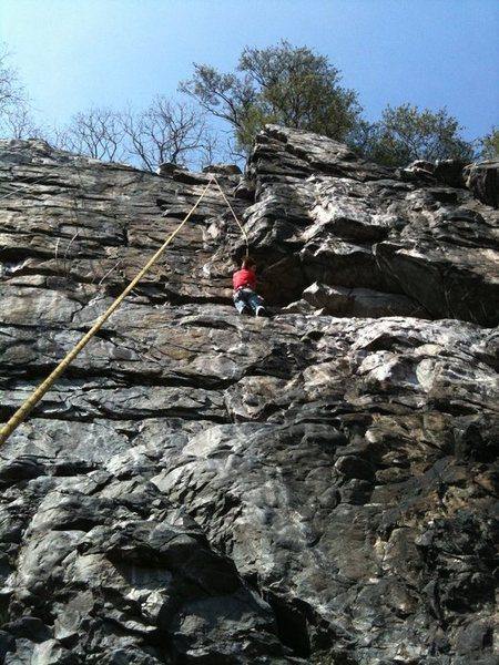 Climber on the bottom half of Cold Steel Corner (C.O.)