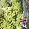 Climber looking for gear at the top of Cold Steel Corner (photo: Ryan Smith)
