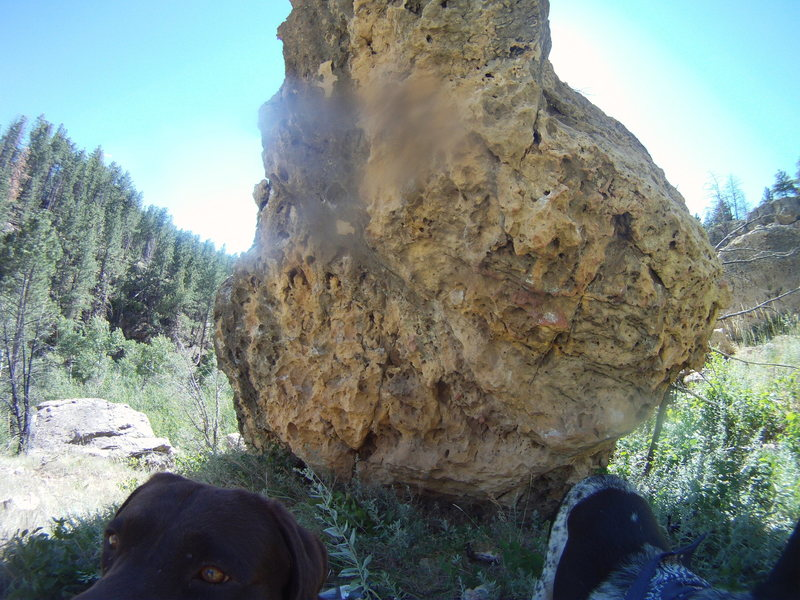Grouse boulder overhang, routes left to right, Ruffed, blue, and sharptailed
