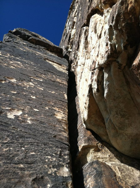Rock Climbing Photo: Pitch 2 Dihedral - Looks harder than it is