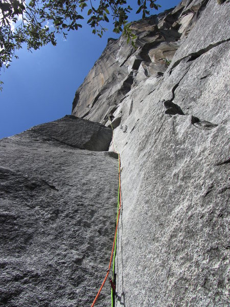 Looking up Pitch 1 of the Prow. JP on lead.