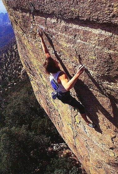 Dan Michael on the FA of Hebe (5.14a), Mt. Lemmon<br> <br> Photo by Peter Noebels