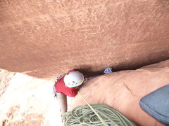 Rock Climbing Photo: hard pull onto the 1st belay ledge.