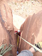 Rock Climbing Photo: in the squeeze finishing off pitch 2