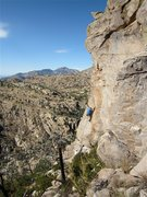 Rock Climbing Photo: Jimbo on the moderate start to the route.