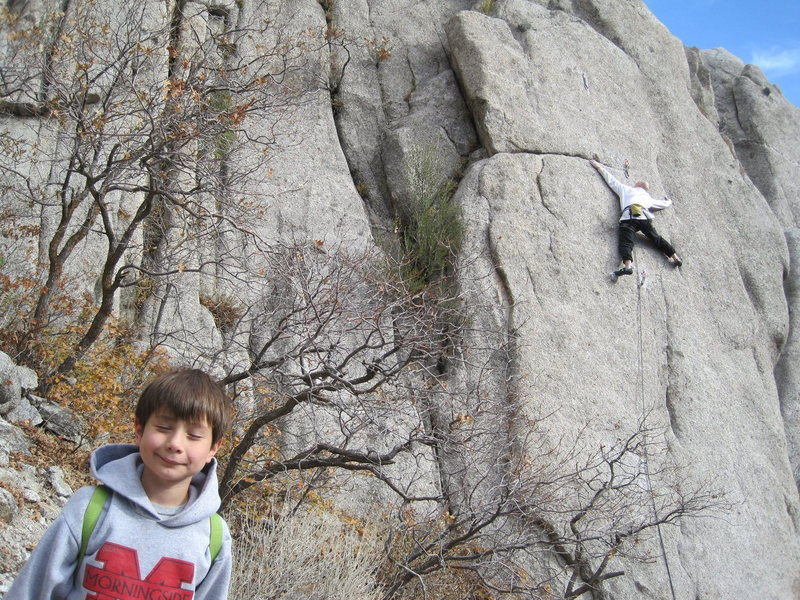 Rock Climbing Photo: Ethan, soaking up the action.