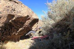 Rock Climbing Photo: Making the crux reach.