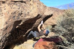 Rock Climbing Photo: The starting move from good pockets