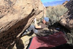 Rock Climbing Photo: Crux done the finishing holds are at hand.