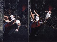 Rock Climbing Photo: Deborah Henny setting up and executing the cross t...