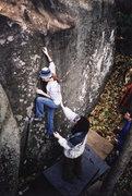 Rock Climbing Photo: Deborah Henny demonstrating the Left Bookend, V2, ...