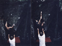 Rock Climbing Photo: Matthew Bashista on Unnamed (V6) in the Matrix are...