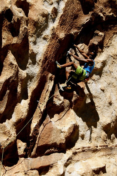 Rock Climbing Photo: Nice section of lie-backs and foot scumming on Sat...