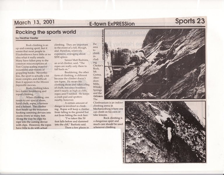 An article that I was interviewed for that appeared in my high school newspaper during my senior year.