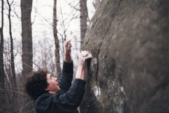 Rock Climbing Photo: Repeating a crimpy V5 first ascent at Aberdeen Mil...