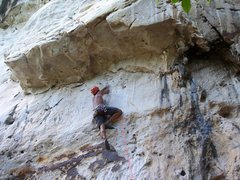Rock Climbing Photo: Rajiv beginning the technical smearing moves on th...