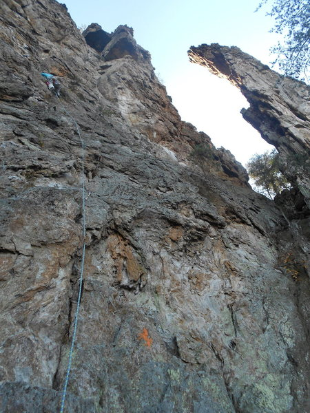 Jen leading the first pitch of <br> <br> Two Pitch(5.4)trad