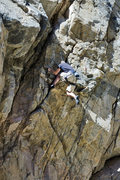 Rock Climbing Photo: Finishing up the crux moves on the FA of The Exped...