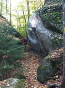 Rock Climbing Photo: The Laboratory Boulder on the right. Slopers is cl...
