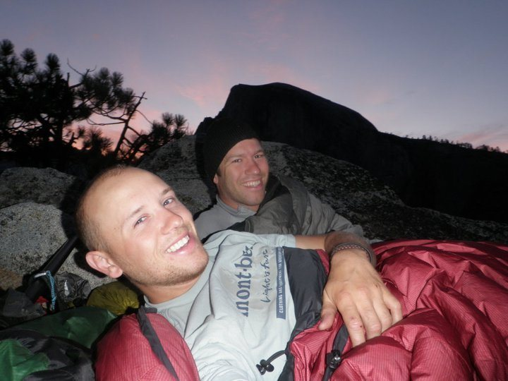 Sleeping on top of Washington column after climbing the Prow. Yosemite.