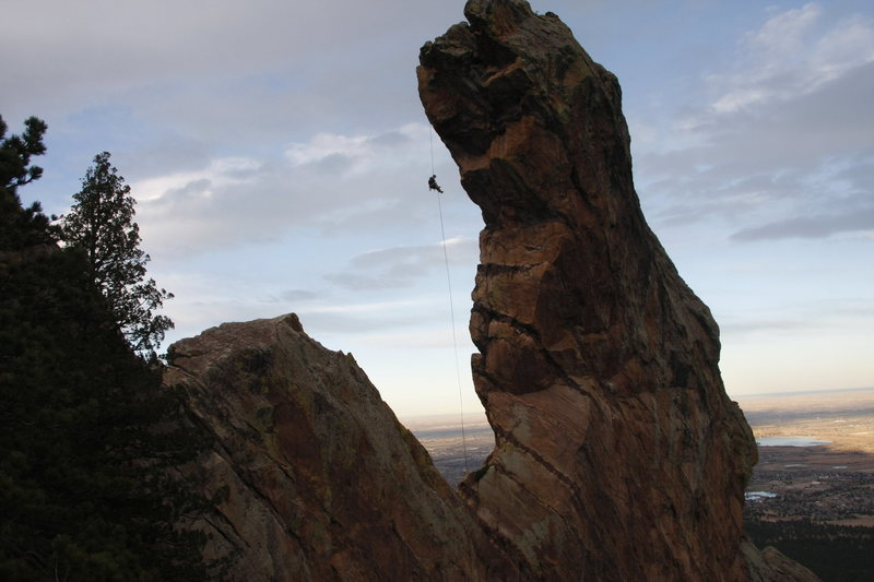 Repelling from Devil's Thumb in Colorado