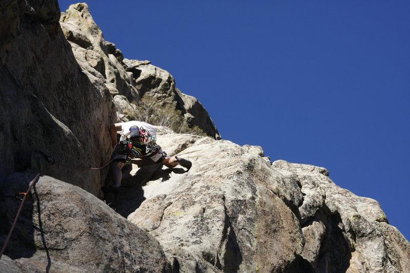 Leading trad in Boulder Canyon in Colorado
