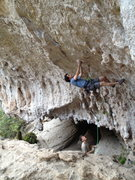 Rock Climbing Photo: Climber matching the undercling blob (technical te...