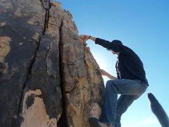 Rock Climbing Photo: Rusty on Hang Mans Porch