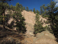 Rock Climbing Photo: The Back Porch, seen through the trees.  Routes ar...