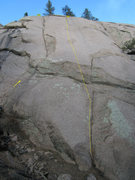 Rock Climbing Photo: Dashed line.  1st bolts shown. (Arrow shows Crack ...