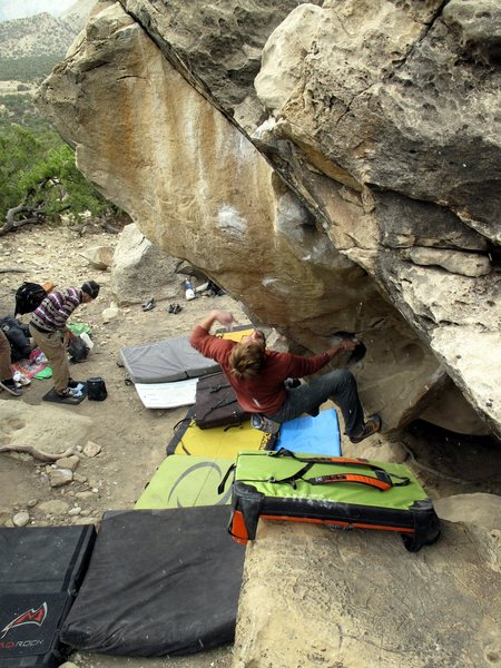 Rock Climbing Photo: A big move to a slopey crimp