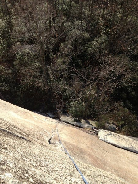 Looking down from the top of the finger crack.