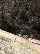 Rock Climbing Photo: Looking down from the top of the finger crack.