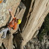 Buster Jesik about to bust a move through the final crux of Condones.
